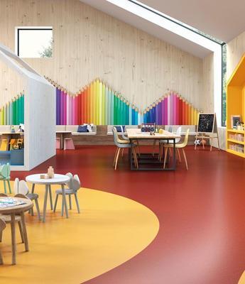 PVC- Belag in bunten Farben als Inseln in Kindergarten verarbeitet, Fa. Objectflor